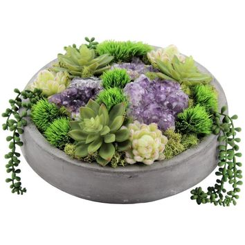Succulents and Amethyst in Concrete Bowl
