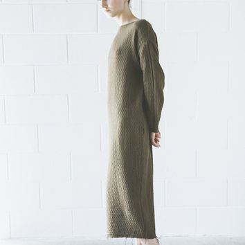 Black Crane - Quilt Long Dress in Coffee