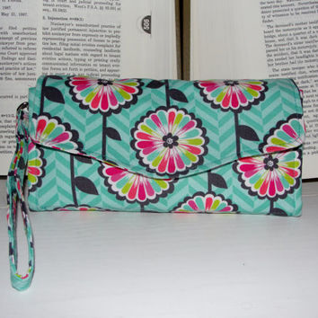 Necessary Clutch Wallet, RTS, Great Gift, Handmade with Floral fabric and chevron lining, Credit Card Slots, iPhone, wristlet, NCW
