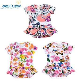 Newborn printing floral Baby Girl Dress Cotton Soft Newborn Body Suit Infant Baby girls Romper Clothes