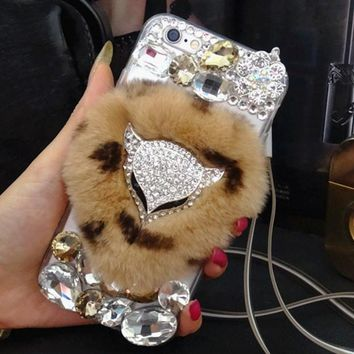 Luxury Fox head Bling Warm Soft Beaver Rabbit Fur Hair phone cases for iphone X 5S 5C 6s 7 8 8 Plus protective phone hot sale