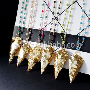 Natural full gold trim arrowhead necklace, natural raw indian at gate arrowhead necklace