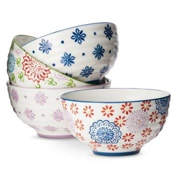 Boho Boutique™ Floral Ceramic Cereal Bowl Set of 4