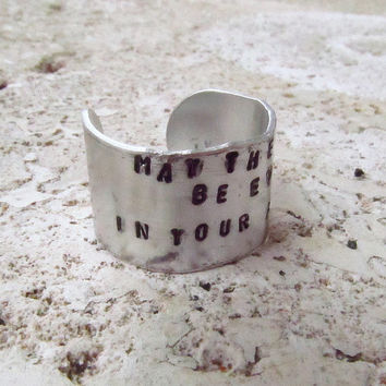 The Hunger Games Inspired - Hand Stamped 12mm Aluminum Ring - Odds in Your Favor
