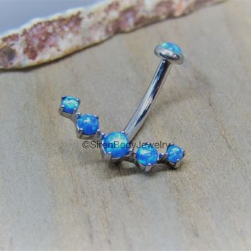 "Blue opal cluster belly button ring 14g 7/16"" titanium internally threaded navel barbell"
