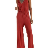 Cardinal Tie-Neck Jersey Knit Jumpsuit by Charlotte Russe