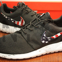 Nike Roshe Run Black Marble American Flag Pride Print V3 Edition Custom