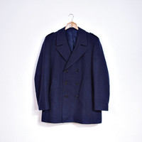 Vintage Fisherman's Coat / Made in Portugal / Sailor Captain Yacht Club Wool Jacket / Size 54