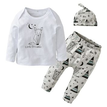 Infant Newborn 100%Cotton Baby Boys Girls Clothes Long Sleeve Fox Print T-shirt Pant with Hat Casual Outfits Kids Clothing Sets
