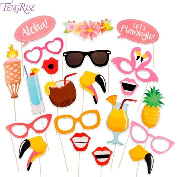 FENGRISE 21 Pieces Flamingo Tropical Summer Hen Photo Booth Props Hawaii Carnival Party Decoration Photobooth Birthday Supplies