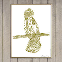 """Gold Parrot"" Screen Print"