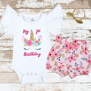 Unicorn Pink Floral Bloomer Outfit