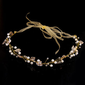2016 Summer Fashion Tiara Hairwear Pearl Crystal Flower Hair Jewelry Wedding Hair Accessories Head Chain Bridal Hairwear Romatic