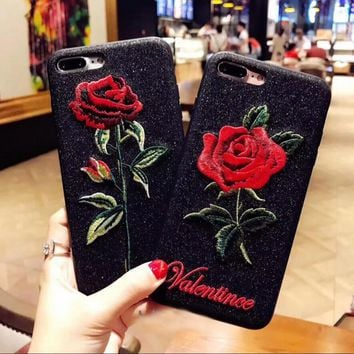Art aesthetic embroidery rose iphone6s with a bright black hand feel of the 7plus protective cover Tagre™