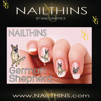 German Shepherd  Dog Nail Art  Nail Decal  Nail Design NAILTHINS  not water slide
