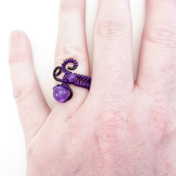 Amethyst and copper ring. Febuary Birthstone, Healing Gemstone. Wire wraped, Adjustable.