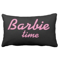 Black Pillow and Pink Barbie Words