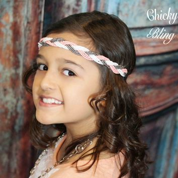 Tween Coral, Silver and White Bead Braid Headband