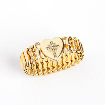 Vintage 12k Gold Filled Heart Cross Expansion Bracelet - Pitman & Keeler American Queen WWII 1940s Stretch Sweetheart Religious Jewelry