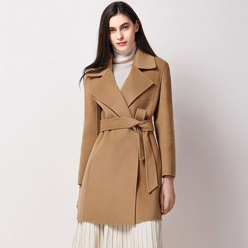 Ladies 100% Wool Jackets Office Fashion 2017 New Coats Camel With Belt Cashmere Overcoats Coat Winter Jackets Trench Pure Wool