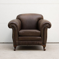 Vintage Art Deco Leather Club Chair with Nailhead Trim
