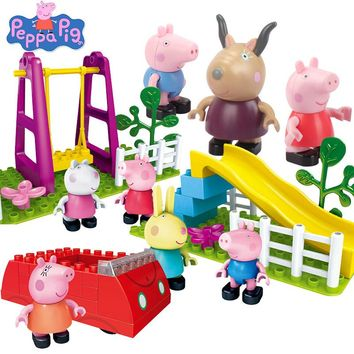 Peppa George Pig Family toys friends school Playground Scene Brick Building Blocks party decorations For Kids Educational Toys