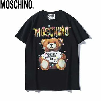 Moschino 2019 early spring new couple models color light bulb cartoon print bear short-sleeved T-shirt black