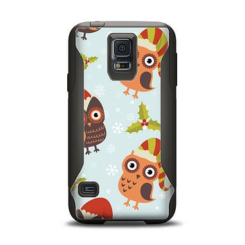 The Orange Cartoon Winter Owls Samsung Galaxy S5 Otterbox Commuter Case Skin Set
