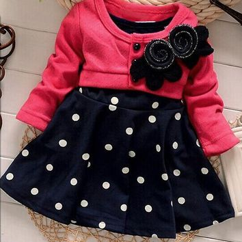 FANALA Baby Girl Dress 2017 Fashion Long Sleeve Toddler Dresses Girl Kids Spring Autumn Children Floral A-Line Dress Vestidos