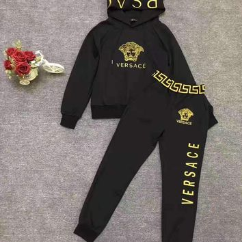 """""""Versace """" Woman's Leisure Fashion Letter Embroidery Printing Spell Color Zipper Long Sleeve Coat  Tops Trousers Two-Piece Set Casual Wear"""