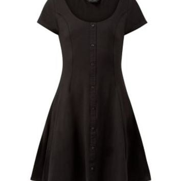 Black Button Front Skater Dress