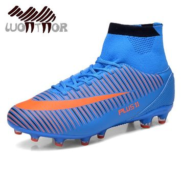 LUONTNOR High Ankle Men Football Boots Wearable Long Spikes Soccer Shoes Training Football Cleats Shoes for Man Big Size 45 46