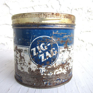 Vintage Zig Zag Tobacco Tin Can, Zig Zag McDonald Inc, Collectible Tobacco Advertising, 1950s,  Memorabilia, fine cut cigarette tobacco