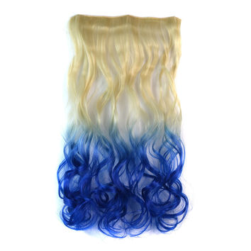 Beauty On Sale Hot Sale Hot Deal Sexy Wigs Beige Gradient Blue Curly Hair Hair Extensions [4923177604]