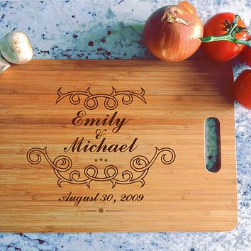 ikb477 Personalized Cutting Board Wood wedding gift anniversary date names wooden wedding