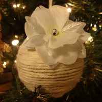 Country Christmas, Handmade Christmas Ornament, Natural Twine Ornament, Holidays