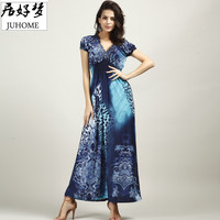plus size Sexy maxi long summer dress women clothing 2017 blue large/big size elegant Boho beach tunic sundress vestido de festa