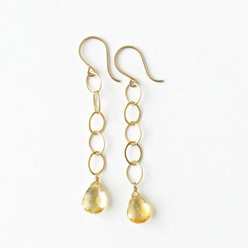 Long Citrine Earrings, Gold Chain Earring with Yellow Gemstone Briolette, Linear Drop, French Wires, 2.5 Inches