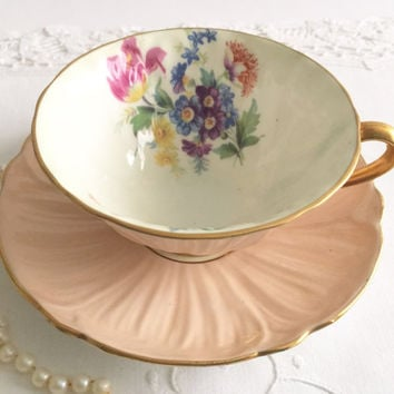 Peach Shelley Oleander Tea Cup & Saucer