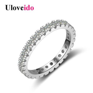 Uloveido 40% Off 925 Sterling Silver Costume Jewelry Wedding Rings for Women Ring Female Zircon Ringen with Box Bijoux JZ109