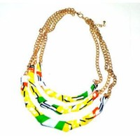 African Fashion Blue Green, Yellow Statement Necklace