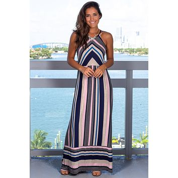 Multi Colored Navy Maxi Dress