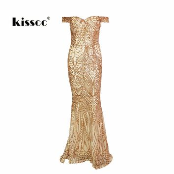 Sexy Strapless Retro Gold Shiny Sequin Maxi Dress Hollow Out Slash Neck Full Length Tight Package Hips Full Lining Padded Dress