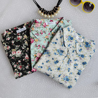 Fashion women work wear vintage floral print cotton blouse long sleeve elegant Shirts casual slim tops S-XL