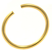 Annealed(Bendable) Basic Gold PVD Plated/Stainless Steel Nose Ring Hoop - 18G 3/8""