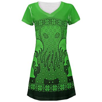 Ugly Christmas Sweater Big Cthulhu Greater Gods All Over Juniors Beach Cover-Up Dress