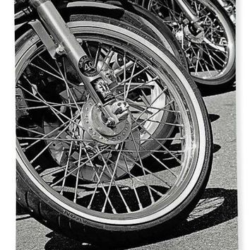 Black And White Motorcycles - Bath Towel