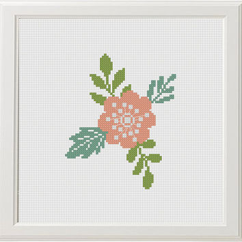 flowers cross stitch retro pattern, counted cross stitch easy, floral cross stitch chart,  PDF pattern, instant download