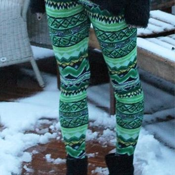 Stylish Elastic Waist Skinny Printed Colored Women's Leggings