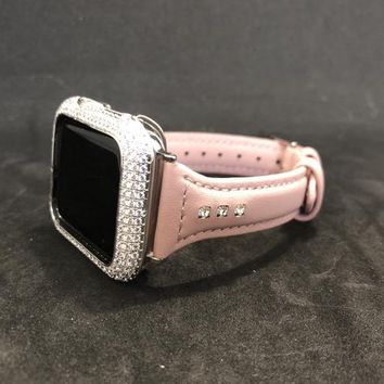 Apple Watch Leather Band 38mm/40mm 42mm/44mm Blush Pink Rhinestone Slim Skinny  Womens Series 1 2 3 4/Iced Out Bezel Case Cover Lab Diamonds